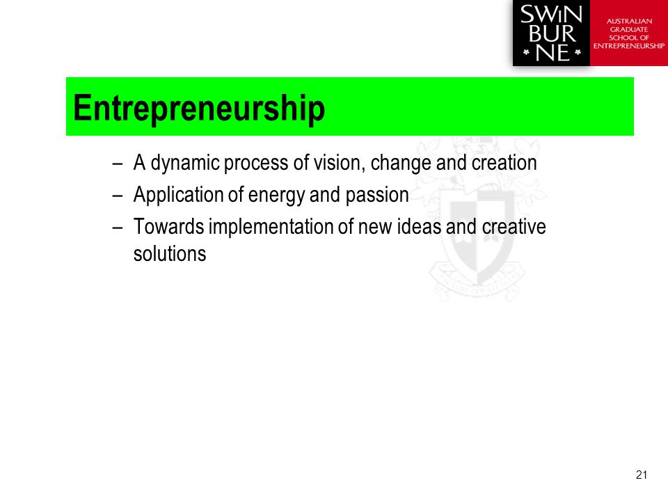 21 Entrepreneurship –A dynamic process of vision, change and creation –Application of energy and passion –Towards implementation of new ideas and creative solutions