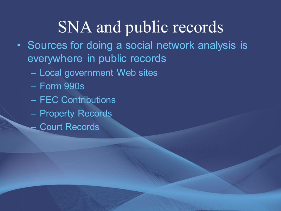 Good examples of SNA in Journalism In 2004, The Kansas City Star used social network analysis software to visualize U.S.
