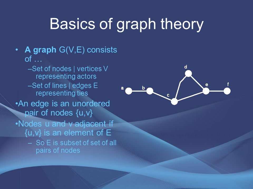 Directed Graphs (digraphs) Digraph D(V,E) consists of … –Set of nodes V –Set directed arcs E An arc is an ordered pair of nodes {u,v} {u,v} is an element of E indicates u sends arc to v {u,v} is an element of E does not imply that {v,u} is an element of E