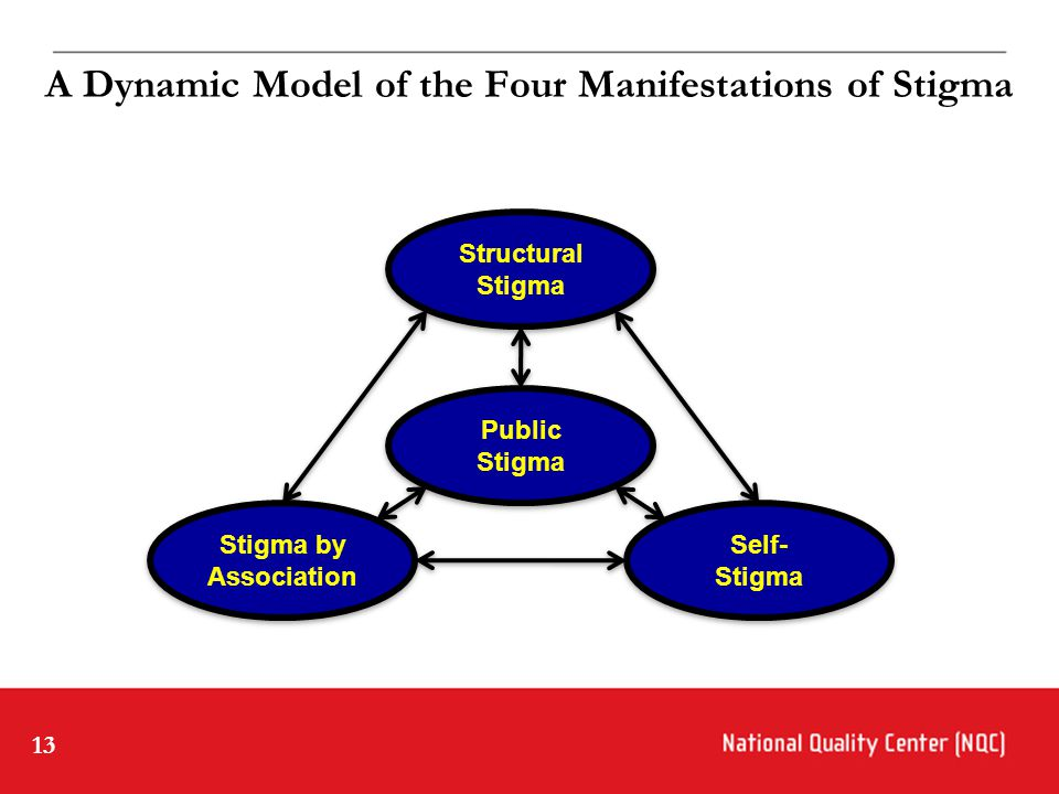 13 A Dynamic Model of the Four Manifestations of Stigma Stigma by Association Stigma by Association Public Stigma Public Stigma Self- Stigma Self- Stigma Structural Stigma Structural Stigma