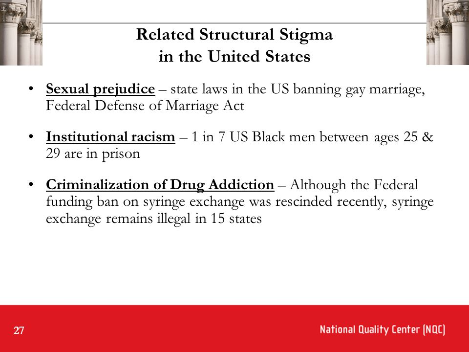 27 Related Structural Stigma in the United States Sexual prejudice – state laws in the US banning gay marriage, Federal Defense of Marriage Act Institutional racism – 1 in 7 US Black men between ages 25 & 29 are in prison Criminalization of Drug Addiction – Although the Federal funding ban on syringe exchange was rescinded recently, syringe exchange remains illegal in 15 states