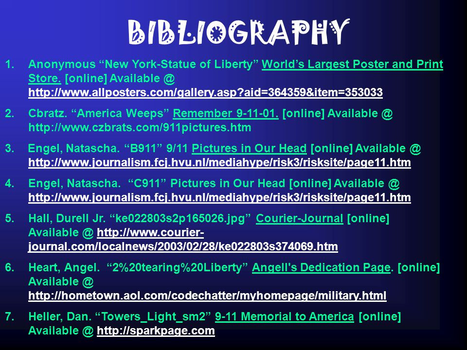 BIBLIOGRAPHY 1.Anonymous New York-Statue of Liberty World's Largest Poster and Print Store.