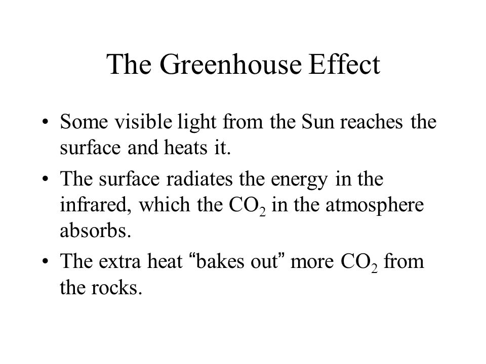The Greenhouse Effect Some visible light from the Sun reaches the surface and heats it.