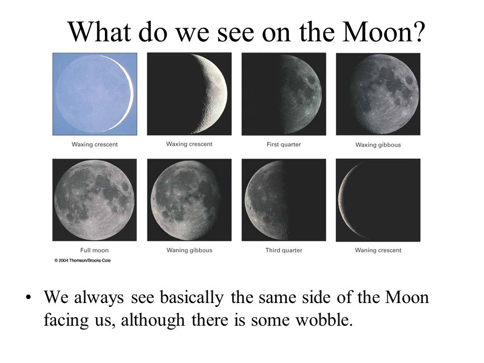 What do we see on the Moon.