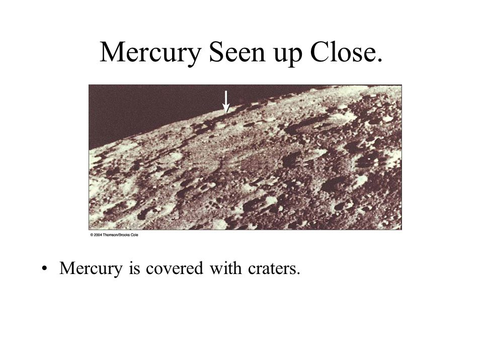 Mercury Seen up Close. Mercury is covered with craters.