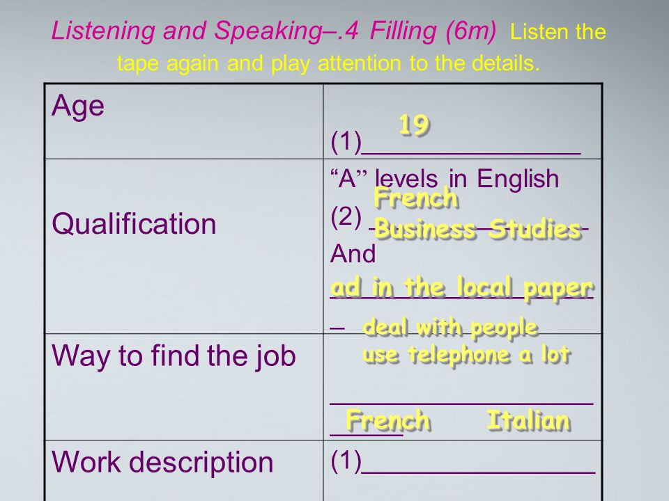"""Listening and Speaking–.4 Filling (6m) Listen the tape again and play attention to the details. Age (1)_______________ Qualification """" A """" levels in E"""