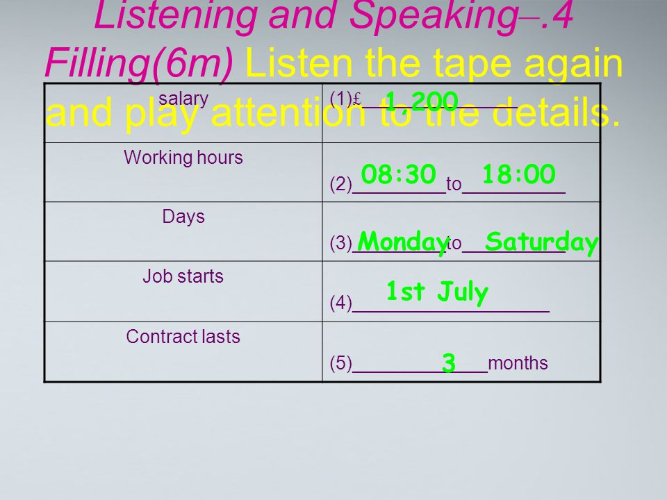 Listening and Speaking –.4 Filling(6m) Listen the tape again and play attention to the details. salary(1) £ _______________ Working hours (2)_________