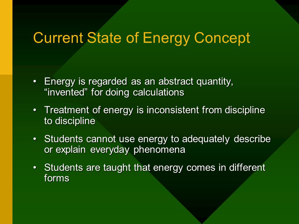 Current State of Energy Concept Energy is regarded as an abstract quantity, invented for doing calculationsEnergy is regarded as an abstract quantity, invented for doing calculations Treatment of energy is inconsistent from discipline to disciplineTreatment of energy is inconsistent from discipline to discipline Students cannot use energy to adequately describe or explain everyday phenomenaStudents cannot use energy to adequately describe or explain everyday phenomena Students are taught that energy comes in different formsStudents are taught that energy comes in different forms