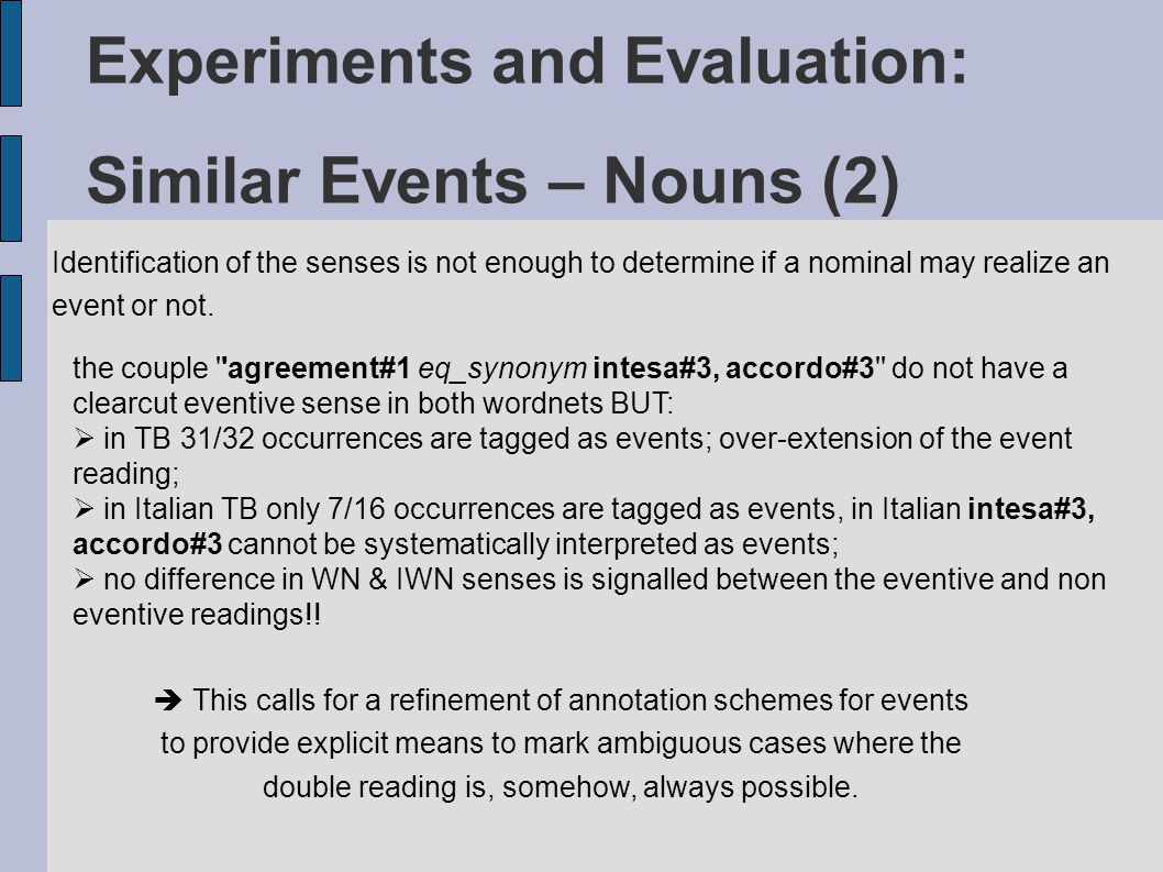 Experiments and Evaluation: Similar Events – Nouns (2) Identification of the senses is not enough to determine if a nominal may realize an event or not.