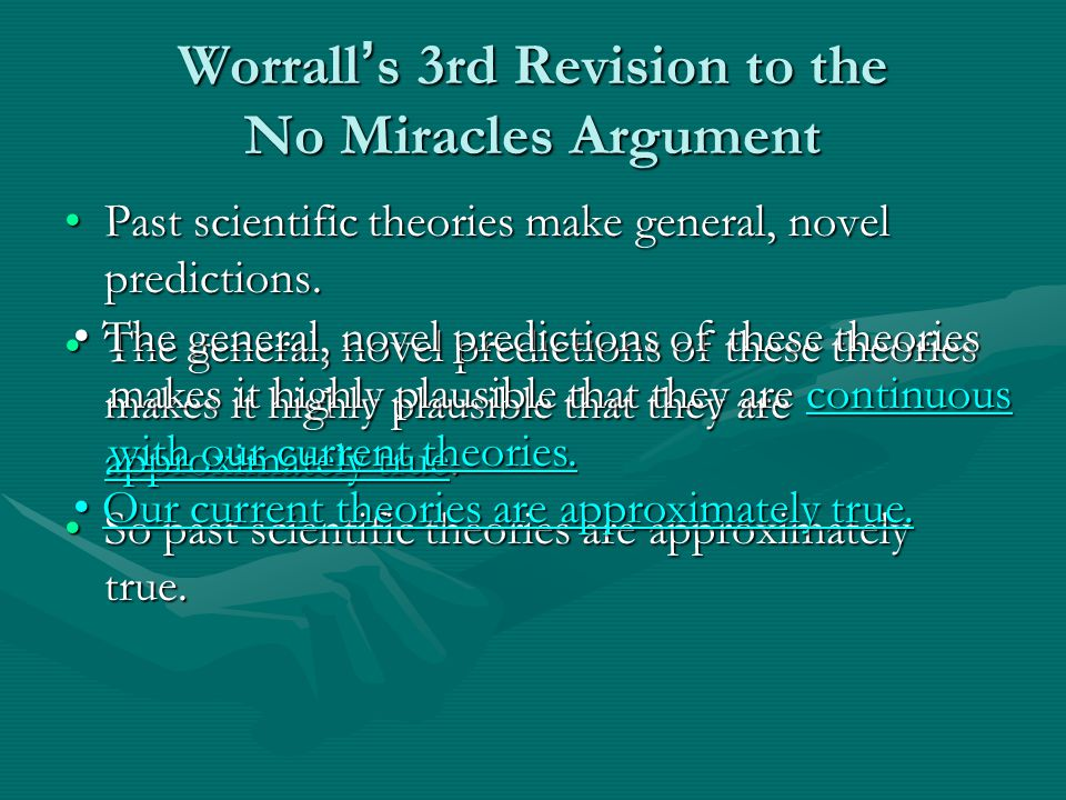 Worrall ' s 3rd Revision to the No Miracles Argument Past scientific theories make general, novel predictions.Past scientific theories make general, novel predictions.