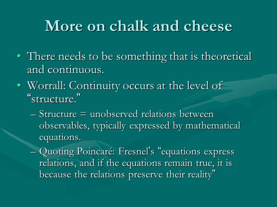 More on chalk and cheese There needs to be something that is theoretical and continuous.There needs to be something that is theoretical and continuous.