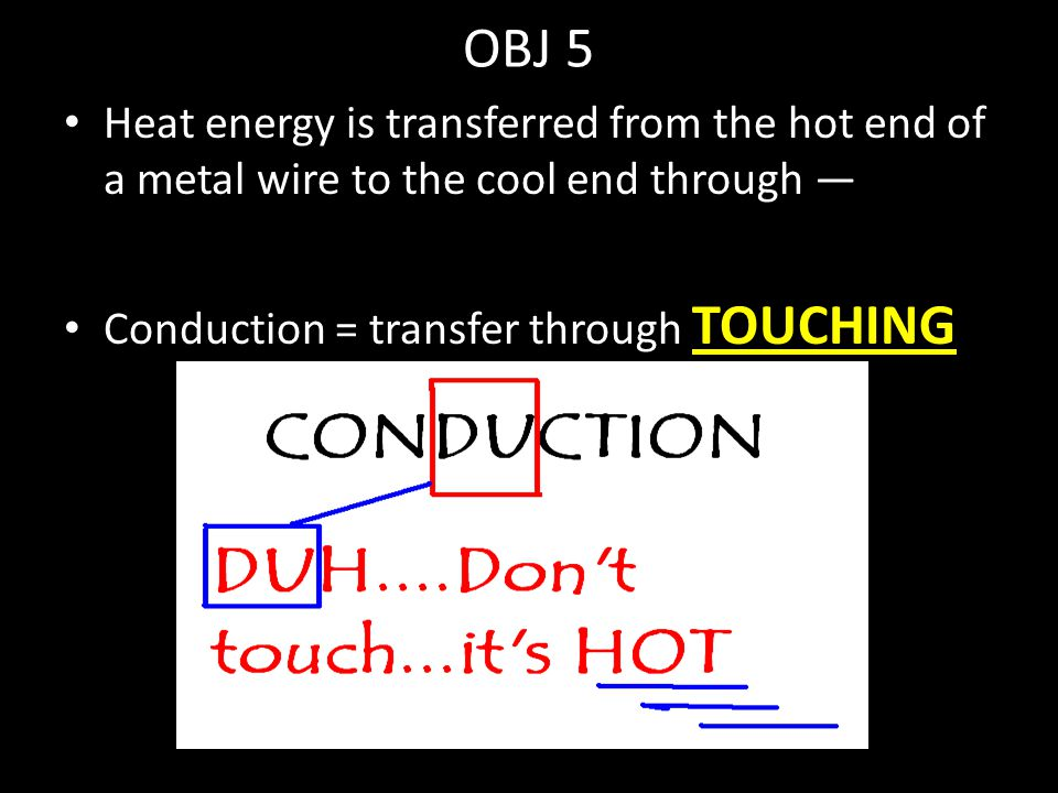 OBJ 5 Heat energy is transferred from the hot end of a metal wire to the cool end through — Conduction = transfer through TOUCHING