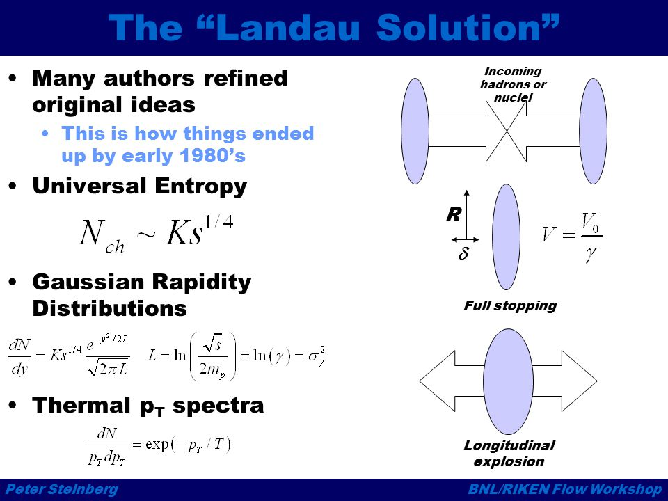 Peter SteinbergBNL/RIKEN Flow Workshop The Landau Solution Many authors refined original ideas This is how things ended up by early 1980's Universal Entropy Gaussian Rapidity Distributions Thermal p T spectra R  Incoming hadrons or nuclei Full stopping Longitudinal explosion
