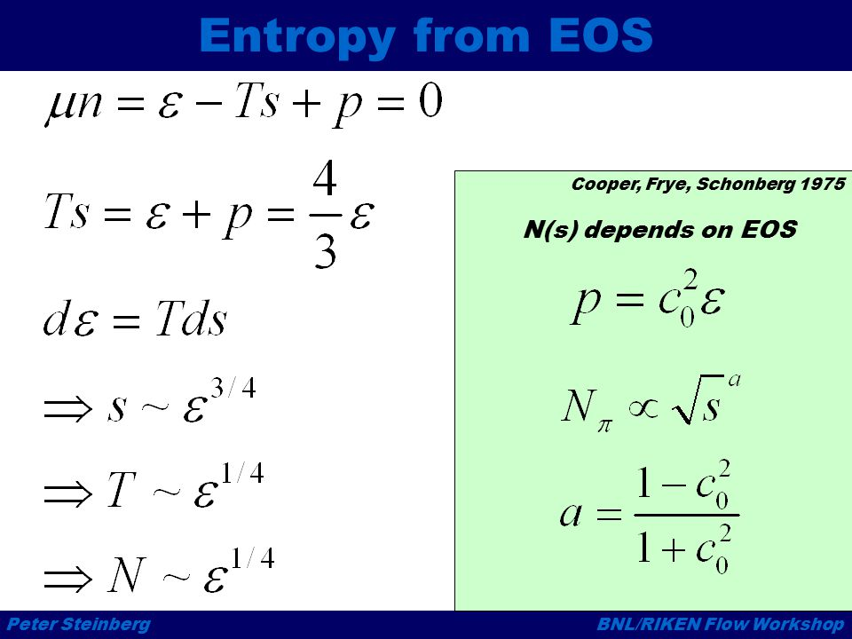 Peter SteinbergBNL/RIKEN Flow Workshop Entropy from EOS Cooper, Frye, Schonberg 1975 N(s) depends on EOS