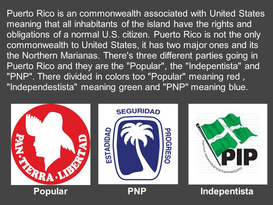 Puerto Rico is an commonwealth associated with United States meaning that all inhabitants of the island have the rights and obligations of a normal U.S.