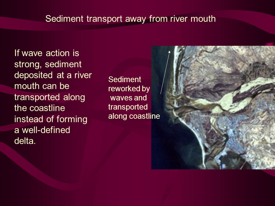 Sediment transport away from river mouth If wave action is strong, sediment deposited at a river mouth can be transported along the coastline instead of forming a well-defined delta.