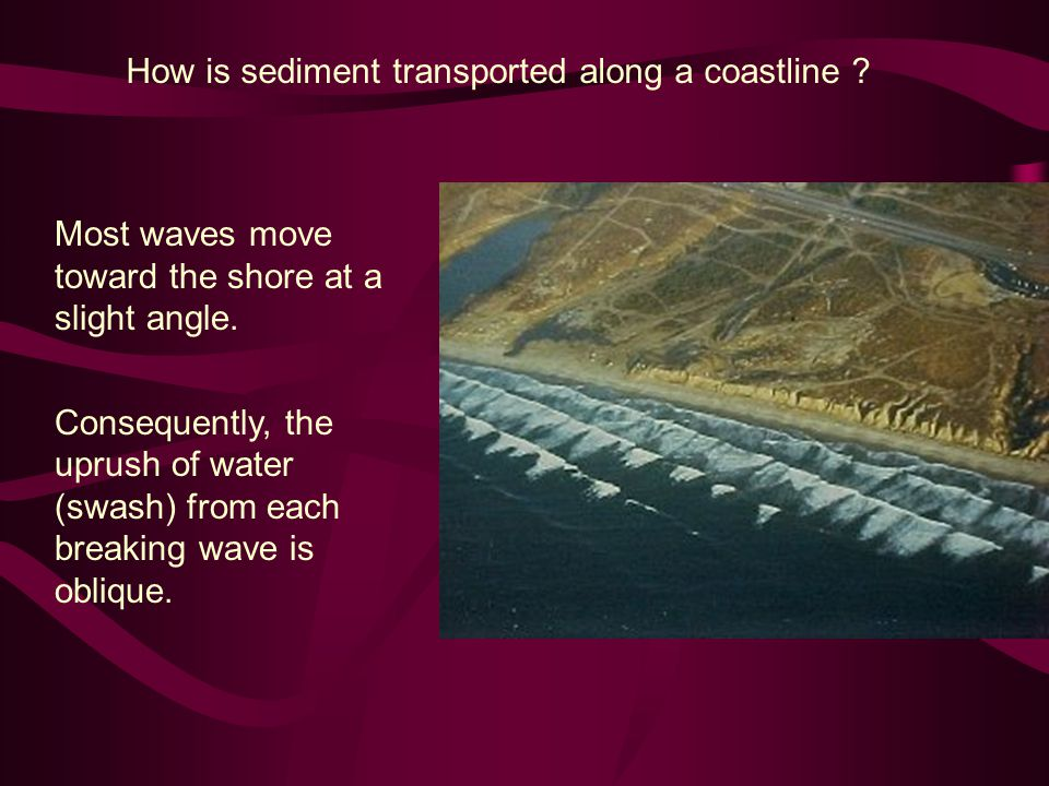 How is sediment transported along a coastline . Most waves move toward the shore at a slight angle.