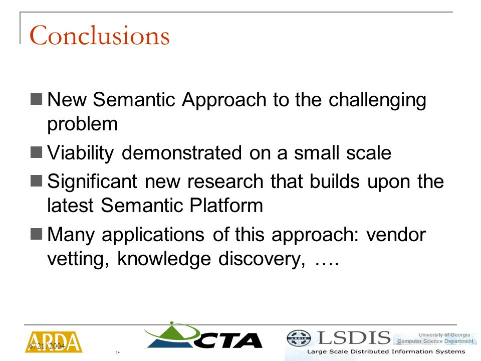 6/21/2004 14 Conclusions New Semantic Approach to the challenging problem Viability demonstrated on a small scale Significant new research that builds upon the latest Semantic Platform Many applications of this approach: vendor vetting, knowledge discovery, ….