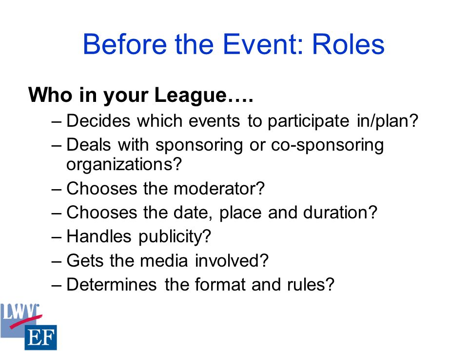 Before the Event: Roles Who in your League…. –Decides which events to participate in/plan.