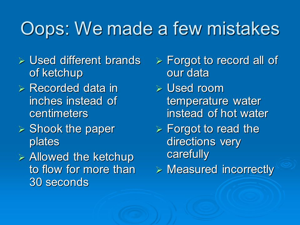 Oops: We made a few mistakes  Used different brands of ketchup  Recorded data in inches instead of centimeters  Shook the paper plates  Allowed th