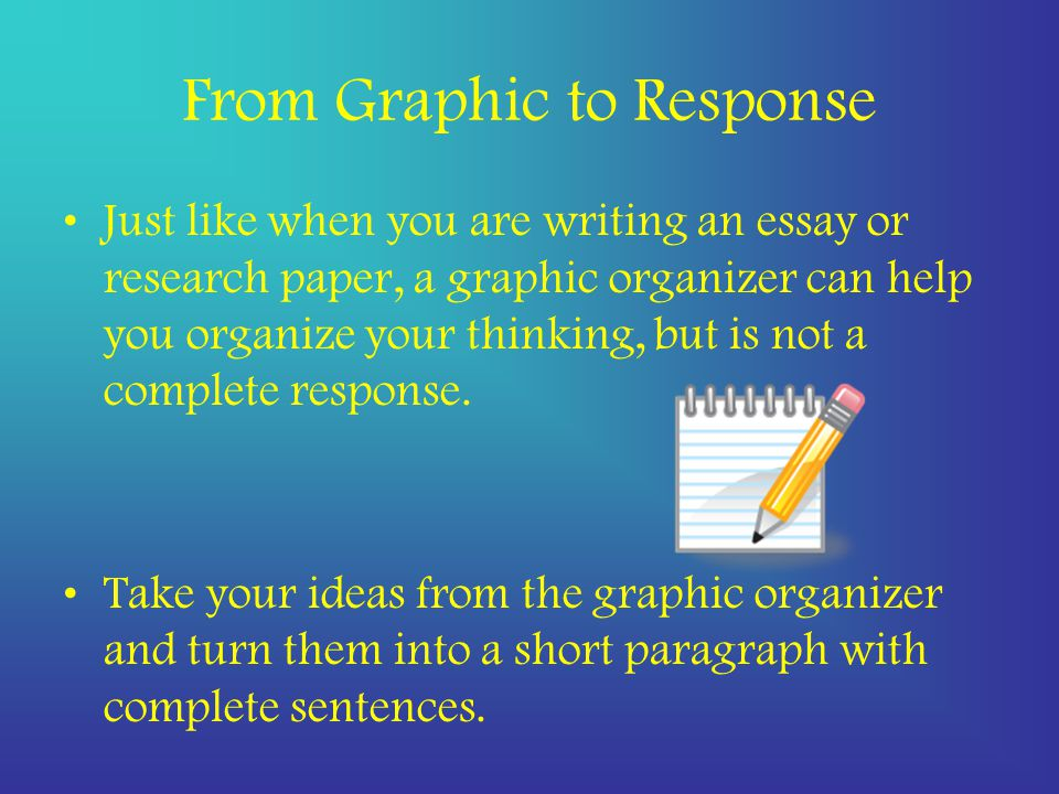 From Graphic to Response Just like when you are writing an essay or research paper, a graphic organizer can help you organize your thinking, but is not a complete response.