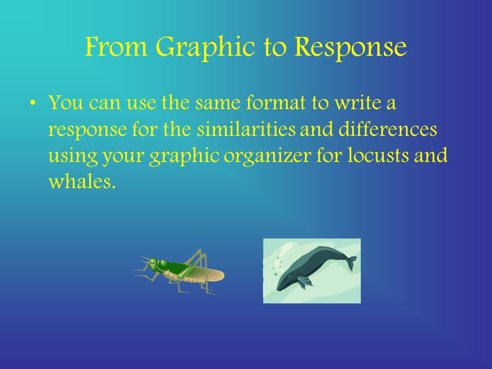 From Graphic to Response You can use the same format to write a response for the similarities and differences using your graphic organizer for locusts and whales.