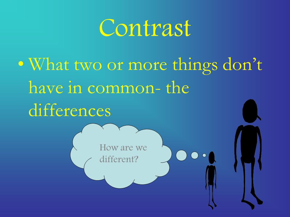 Contrast What two or more things don't have in common- the differences How are we different?