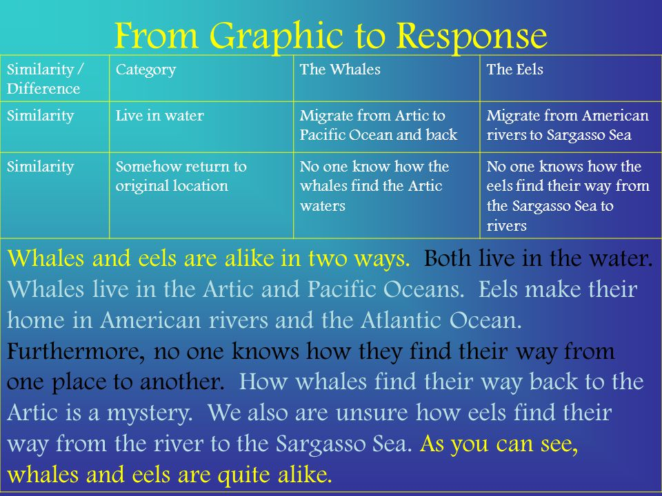 From Graphic to Response Similarity / Difference CategoryThe WhalesThe Eels SimilarityLive in waterMigrate from Artic to Pacific Ocean and back Migrate from American rivers to Sargasso Sea SimilaritySomehow return to original location No one know how the whales find the Artic waters No one knows how the eels find their way from the Sargasso Sea to rivers Whales and eels are alike in two ways.