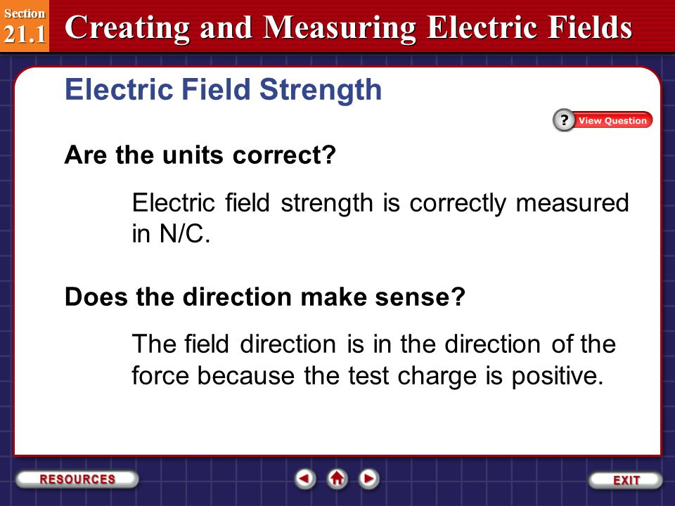 Section 21.1 Section 21.1 Creating and Measuring Electric Fields Step 3: Evaluate the Answer Electric Field Strength Section 21.1