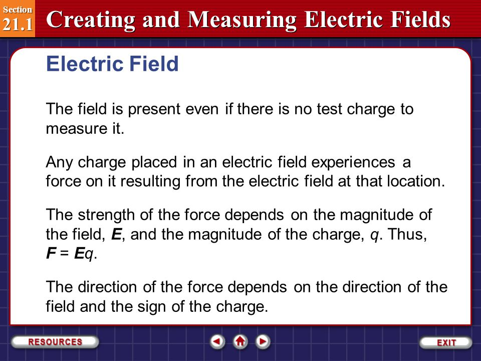 Section 21.1 Section 21.1 Creating and Measuring Electric Fields So far, you have measured an electric field at a single point.