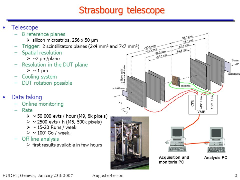 EUDET, Geneva, January 25th 2007Auguste Besson2 Strasbourg telescope Telescope –8 reference planes  silicon microstrips, 256 x 50 μm –Trigger: 2 scintillitators planes (2x4 mm 2 and 7x7 mm 2 ) –Spatial resolution  ~2 μm/plane –Resolution in the DUT plane  ~ 1 μm –Cooling system –DUT rotation possible Data taking –Online monitoring –Rate  ~ 50 000 evts / hour (M9, 8k pixels)  ~ 2500 evts / h (M5, 500k pixels)  ~ 15-20 Runs / week  ~ 100 s Go / week.