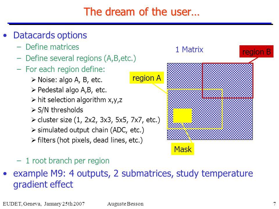EUDET, Geneva, January 25th 2007Auguste Besson7 The dream of the user… Datacards options –Define matrices –Define several regions (A,B,etc.) –For each region define:  Noise: algo A, B, etc.