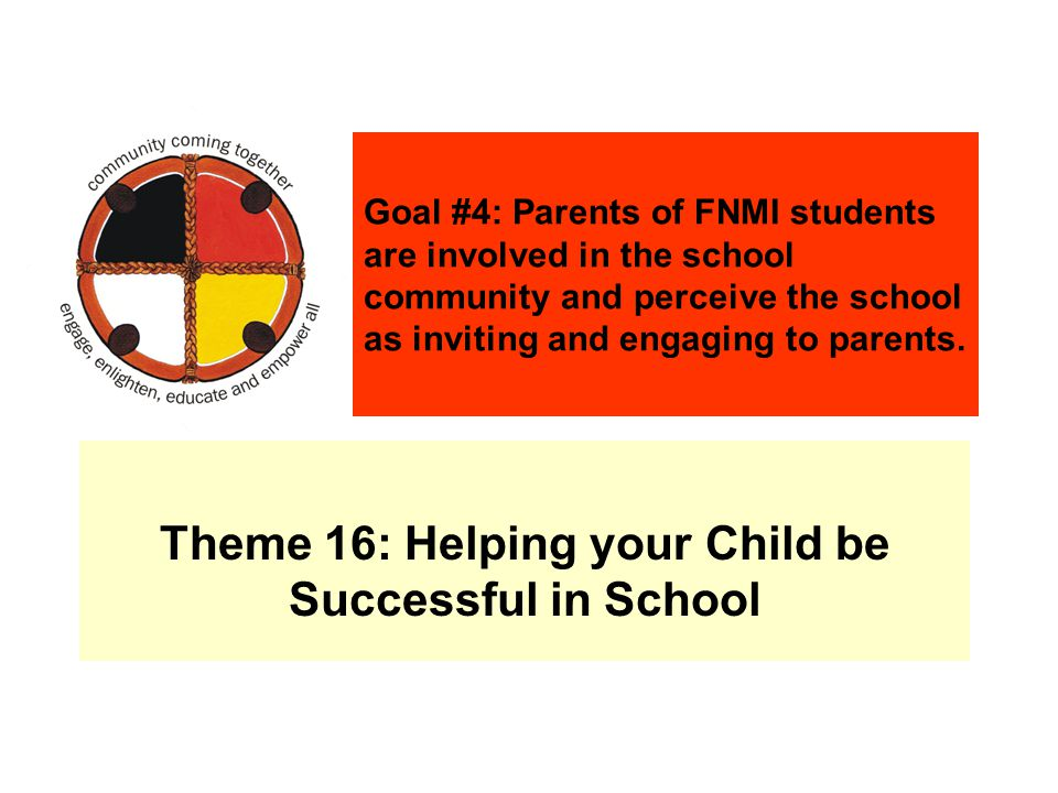 Theme 16: Helping your Child be Successful in School Goal #4: Parents of FNMI students are involved in the school community and perceive the school as inviting and engaging to parents.