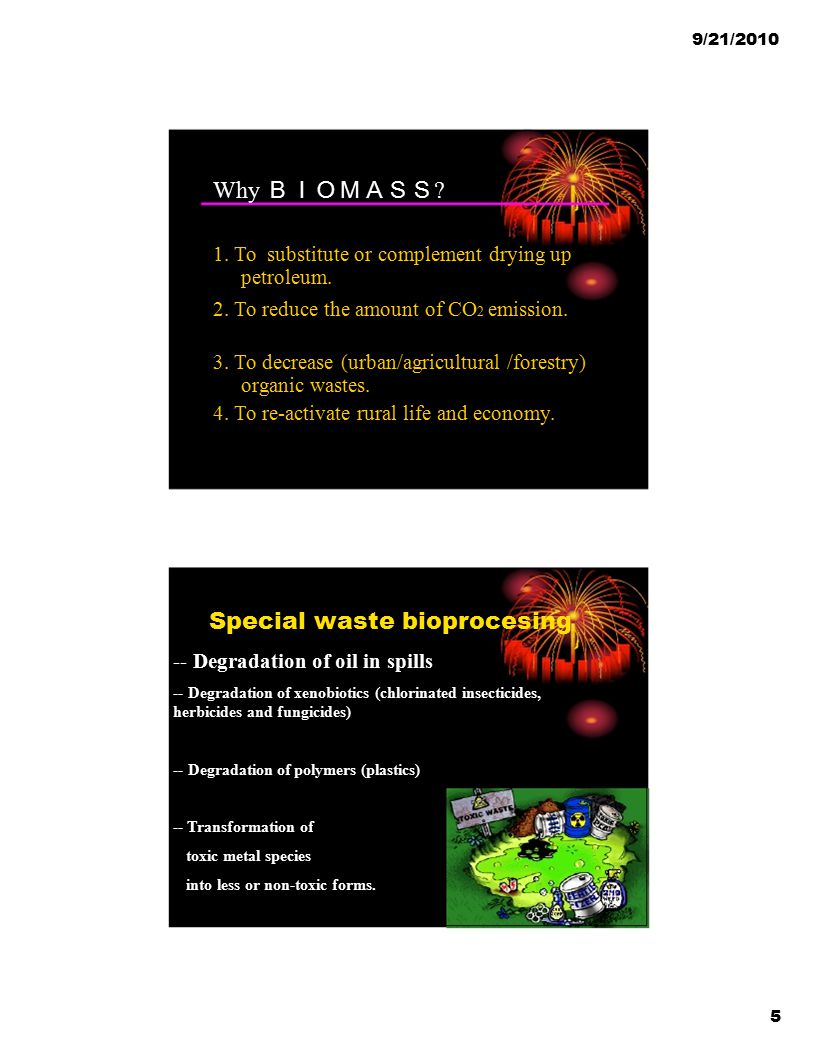 9/21/2010 5 Why BIOMASS ? 1. To substitute or complement drying up petroleum. 2. To reduce the amount of CO 2 emission. 3. To decrease (urban/agricult