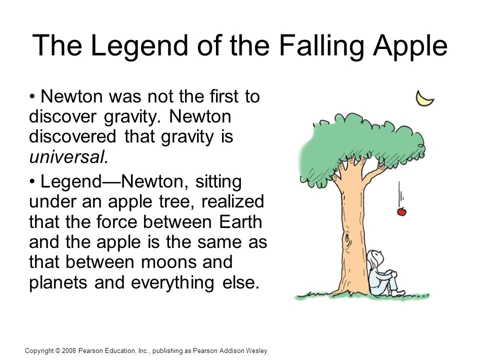 Copyright © 2008 Pearson Education, Inc., publishing as Pearson Addison Wesley The Legend of the Falling Apple Newton was not the first to discover gravity.