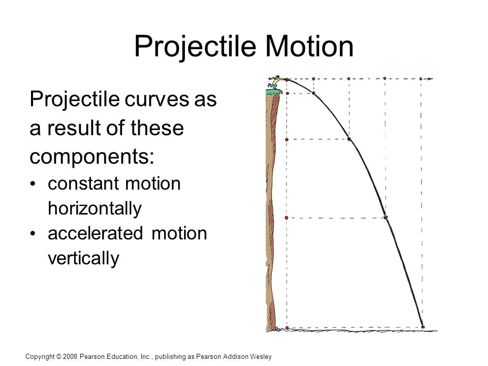 Copyright © 2008 Pearson Education, Inc., publishing as Pearson Addison Wesley Projectile Motion Projectile curves as a result of these components: constant motion horizontally accelerated motion vertically