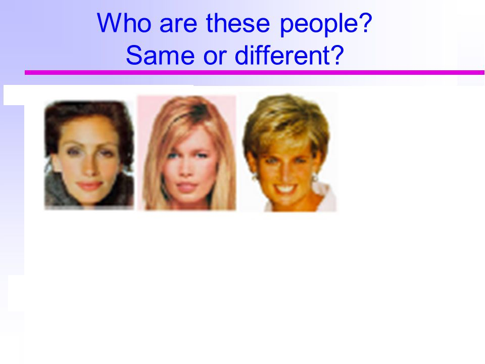Who are these people? Same or different?