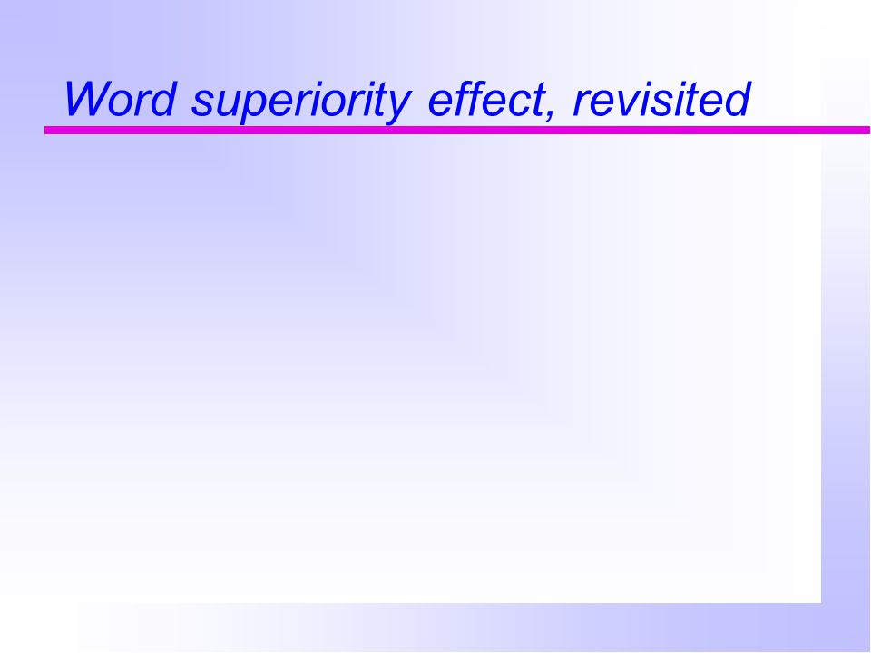 Word superiority effect, revisited