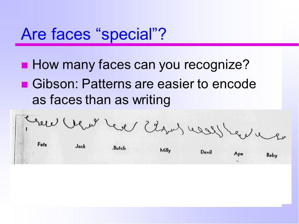 "Are faces ""special""? How many faces can you recognize? Gibson: Patterns are easier to encode as faces than as writing"