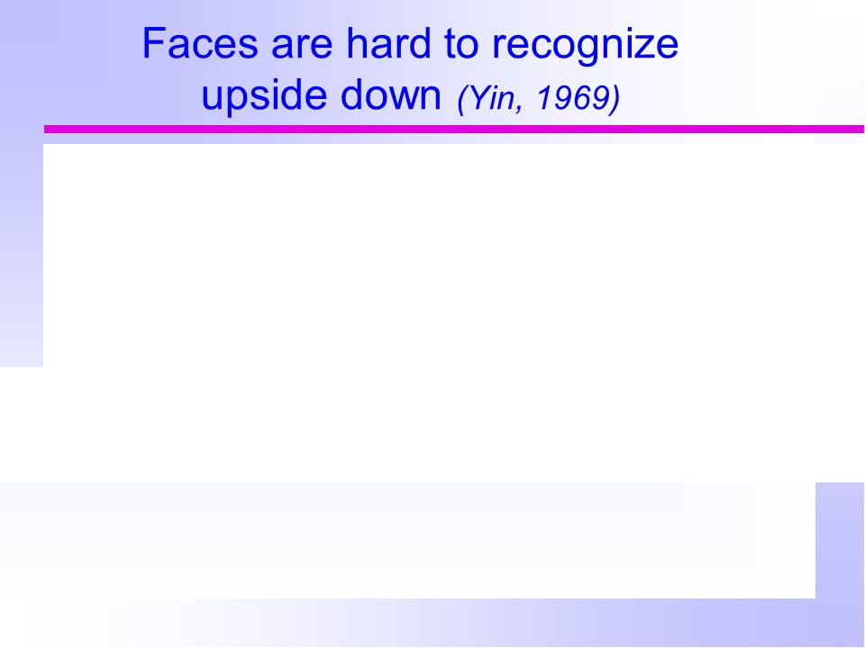 Faces are hard to recognize upside down (Yin, 1969)