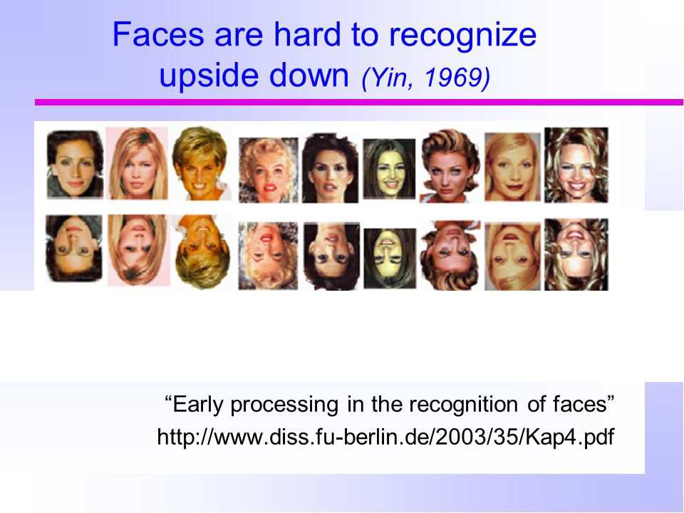 "Faces are hard to recognize upside down (Yin, 1969) ""Early processing in the recognition of faces"" http://www.diss.fu-berlin.de/2003/35/Kap4.pdf"