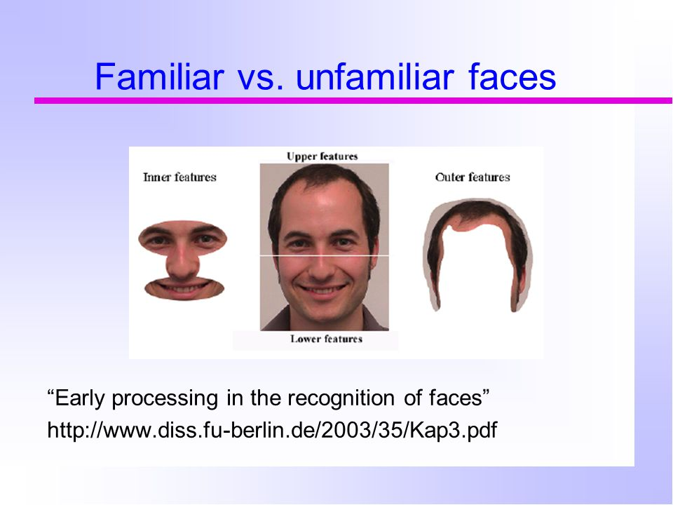 "Familiar vs. unfamiliar faces ""Early processing in the recognition of faces"" http://www.diss.fu-berlin.de/2003/35/Kap3.pdf"