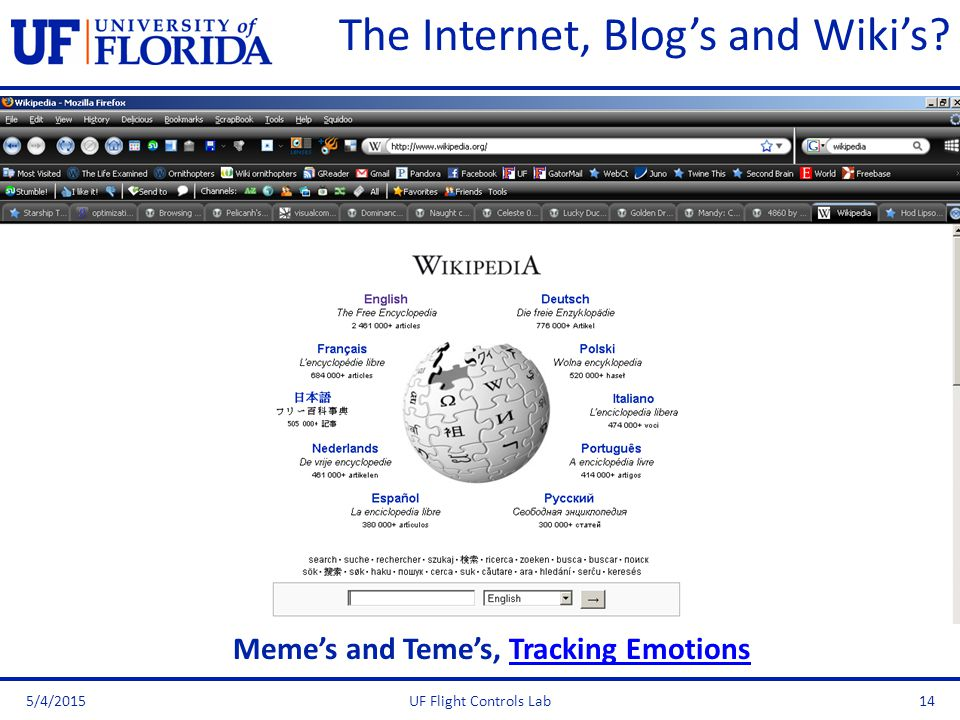 The Internet, Blog's and Wiki's? 5/4/2015UF Flight Controls Lab14 Meme's and Teme's, Tracking EmotionsTracking Emotions