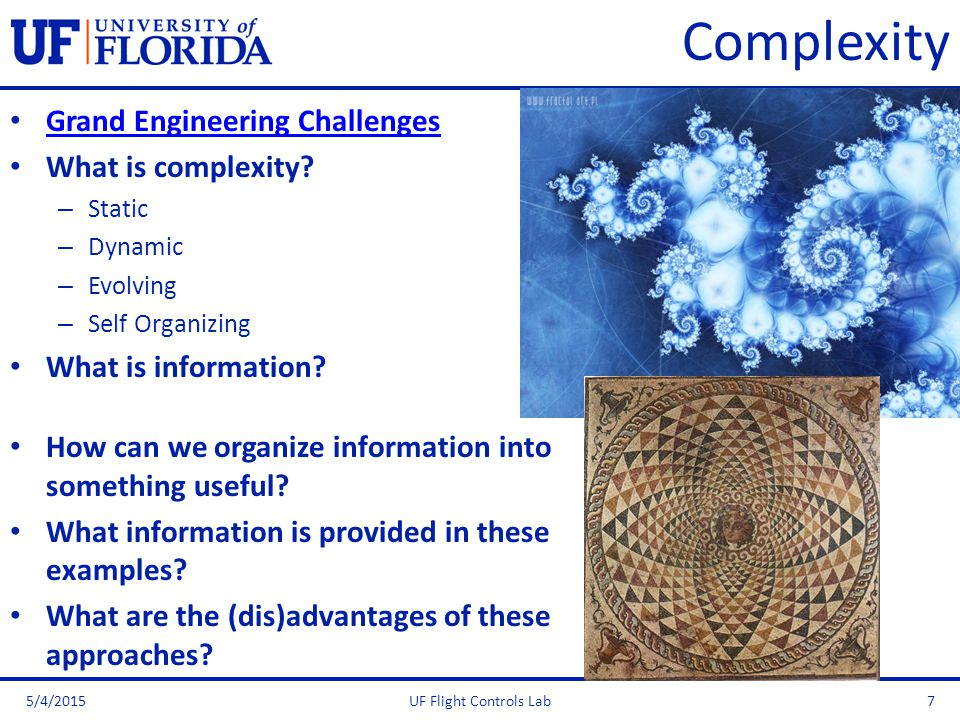 Complexity Grand Engineering Challenges What is complexity? – Static – Dynamic – Evolving – Self Organizing What is information? How can we organize i