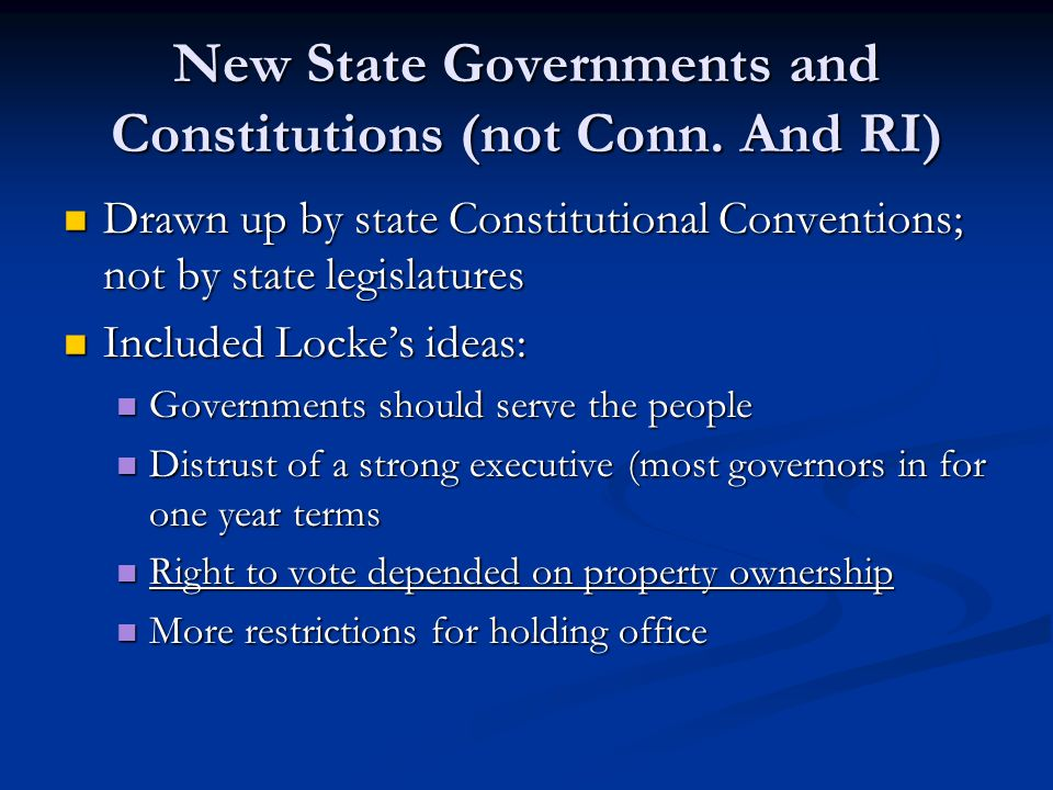 New State Governments and Constitutions (not Conn.