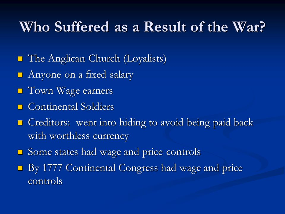 Who Suffered as a Result of the War.