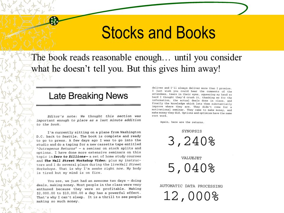 Stocks and Books The book reads reasonable enough… until you consider what he doesn't tell you.