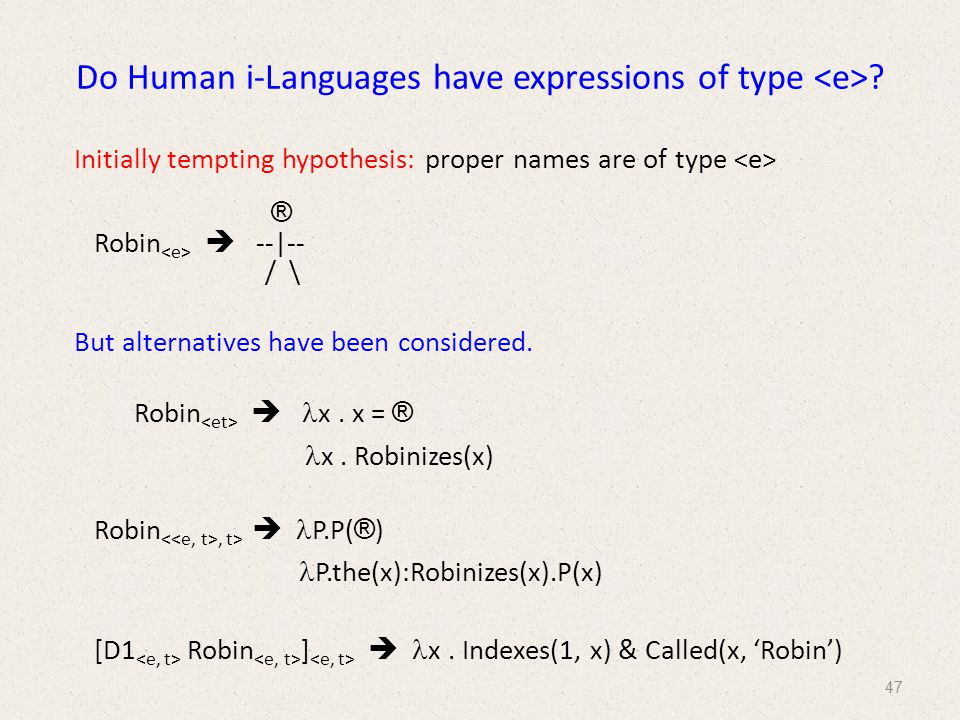 Do Human i-Languages have expressions of type .