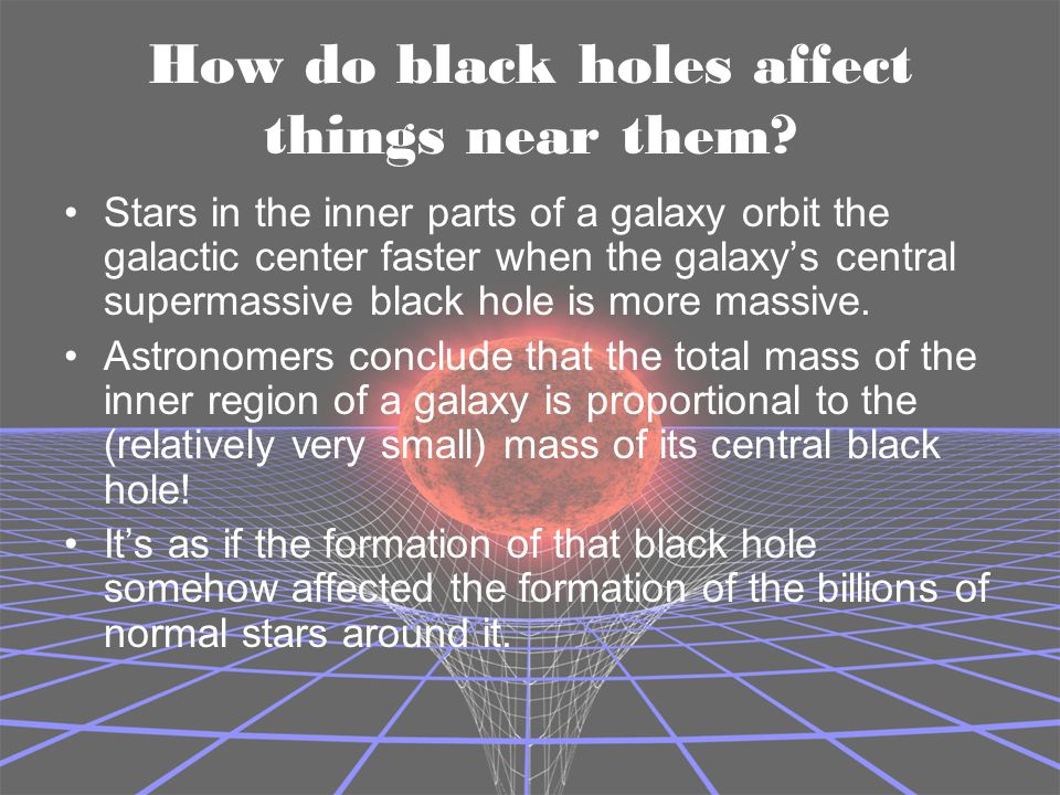 How do black holes affect things near them? Stars in the inner parts of a galaxy orbit the galactic center faster when the galaxy's central supermassi