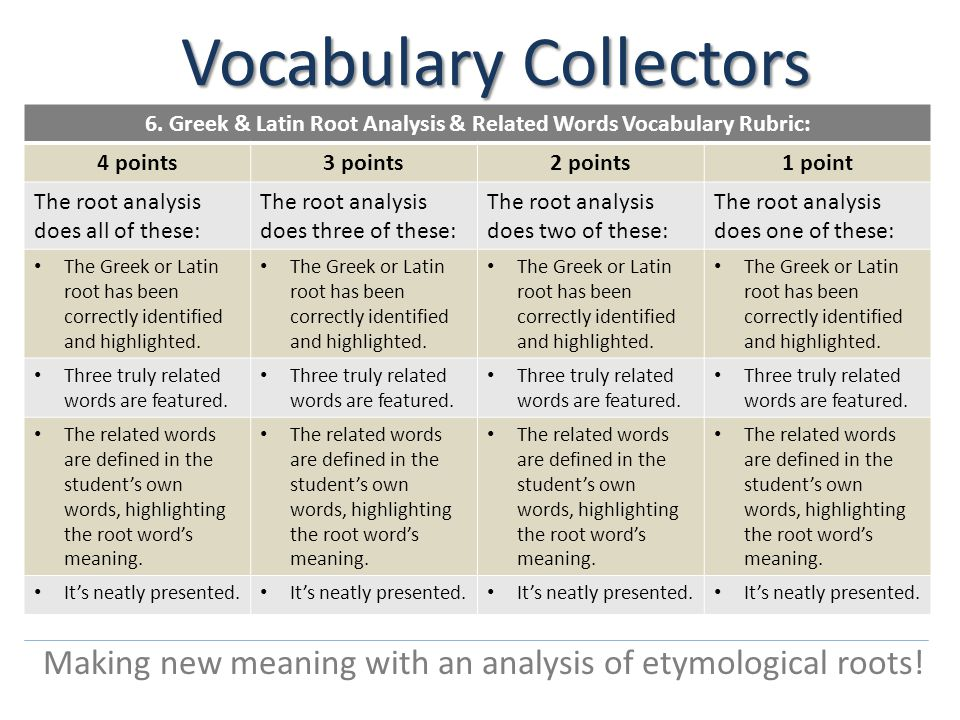 Vocabulary Collectors Making new meaning with an analysis of etymological roots.